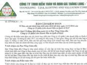 BCTC của KLF, KSA không hợp lệ, Kiểm toán Thăng Long – TDK nói gì?