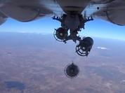 Cận cảnh bom từ máy bay Nga rơi xuống vị trí quân IS