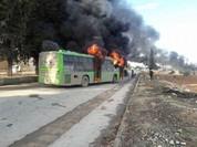 Phiến quân nổ súng vào xe buýt ở Aleppo, cuộc di tản lại đổ vỡ