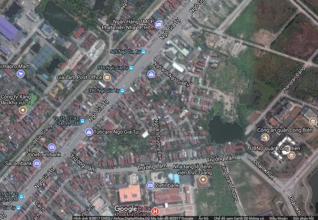 Điều chỉnh cục bộ khu đất số 2 phố Ngô Gia Tự. (Ảnh chụp vệ tinh)