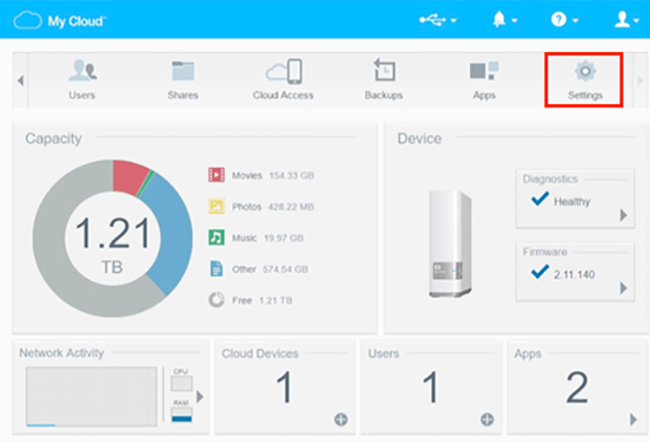 Khi đăng nhập bằng tài khoản quản trị viên (administrator), tại giao diện chính của trang Dashboard, bạn hãy nhấn vào nút Settings (biểu tượng hình bánh răng ở góc trên bên phải).