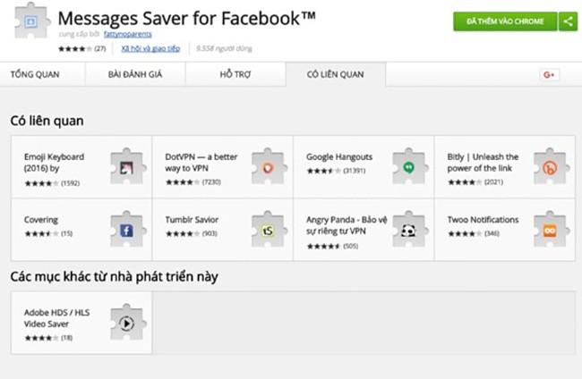 Messages Saver for Facebook cho phép bạn sao lưu lại toàn bộ tin nhắn, dễ dàng xem lại khi không có mạng hoặc phục hồi trong trường hợp lỡ tay xóa nhầm tin nhắn.