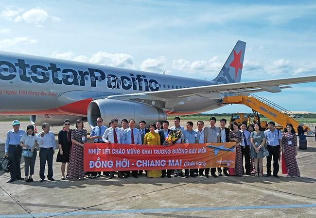 Chiều 11/8, gần 350 hành khách của Hãng hàng không Jetstar Pacific đã trở thành những người khai trương đường bay trực tiếp Quảng Bình và Chiang Mai (Thái Lan). (ảnh:Jetstar Pacific)