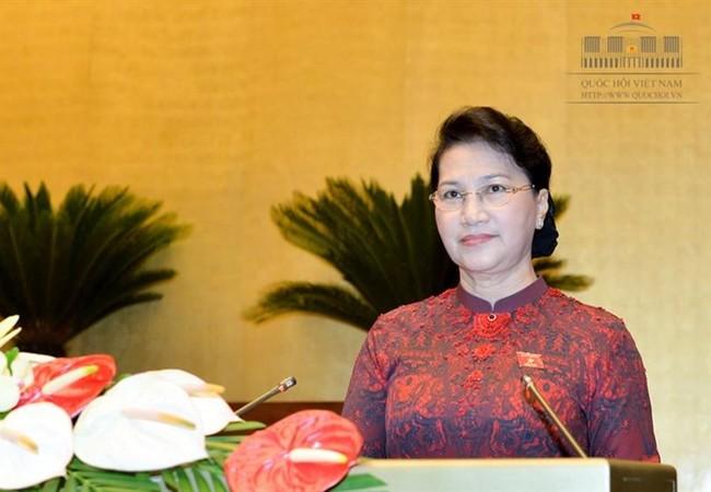 Chủ tịch Quốc hội Nguyễn Thị Kim Ngân phát biểu khai mạc Kỳ họp thứ 3, Quốc hội khóa XIV - Ảnh Cổng TTĐT Quốc hội