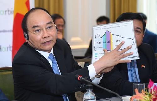 Thủ tướng Nguyễn Xuân Phúc phát biểu tại Tọa đàm bàn tròn về hợp tác đâu tư Việt Nam-Hoa Kỳ. Ảnh: VGP