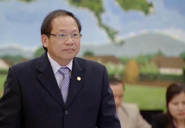 Bộ trưởng Bộ Thông tin và Truyền thông Trương Minh Tuấn tại phiên trả lời chất vấn chiều nay (ảnh chụp màn hình).