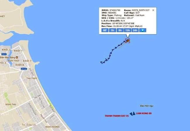Vị trí tàu VTB 26 chìm theo ảnh chụp từ Hệ thống Tự động nhận dạng AIS - Hệ thống Thông tin Duyên hải Việt Nam