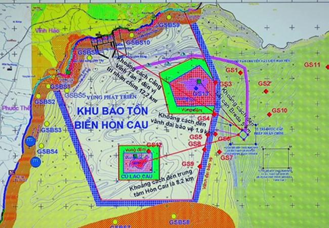 Bản đồ vị trí nhận chìm bùn xuống biển cách tâm Khu bảo tồn Hòn Cau 8 km và cách vành đai bảo vệ khu bảo tồn này 2 km. Ảnh: Tư Huynh.