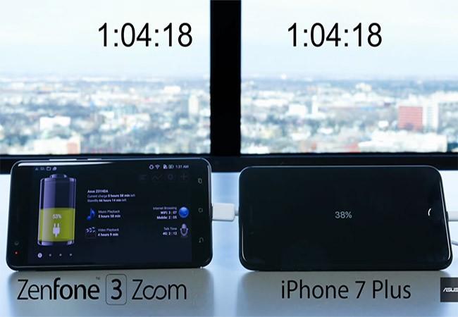 ZenFone 3 Zoom có thời lượng pin tốt hơn iPhone 7 Plus
