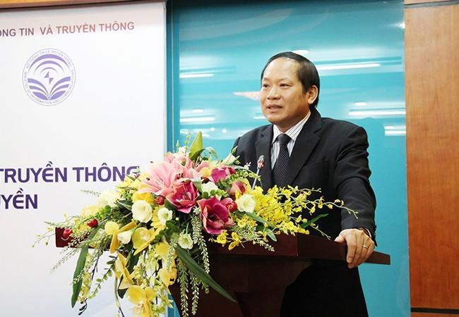 Bộ trưởng Trương Minh Tuấn phát biểu tại Lễ ký kết Biên bản thỏa thuận hợp tác giữa Bộ TT&TT và Học viện Báo chí và Tuyên truyền.