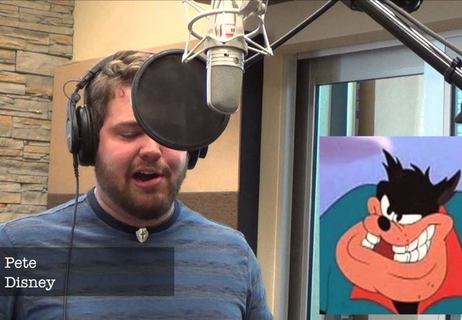 Người đàn ông giả giọng tất cả các nhân vật hoạt hình xuất hiện trong ca khúc.