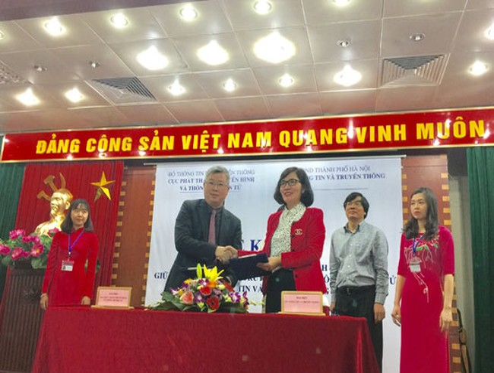Biên bản thỏa thuận vừa được ông Nguyễn Thanh Lâm - Cục trưởng Cục Phát thanh, Truyền hình và Thông tin điện tử và bà Phan Lan Tú - Giám đốc Sở TT&TT Hà Nội ký kết.