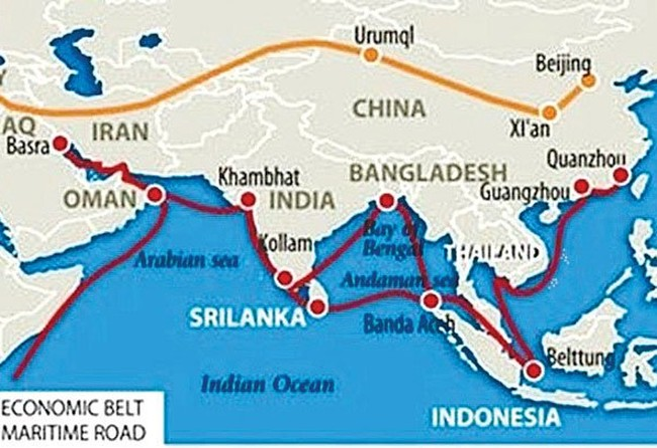 """Dự án """"Một vành đai, một con đường"""", bao gồm con đường tơ lụa trên bộ và trên biển của Trung Quốc."""