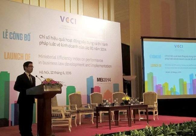Lễ công bố Chỉ số Xây dựng, thi hành pháp luật (MEI) 2014 được Phòng Thương mại và Công nghiệp Việt Nam công bố ngày 22/6