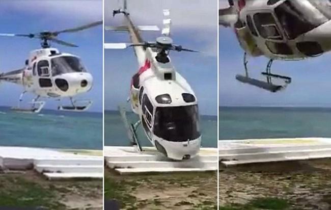 Clip trực thăng bị gió quật văng khi hạ cánh