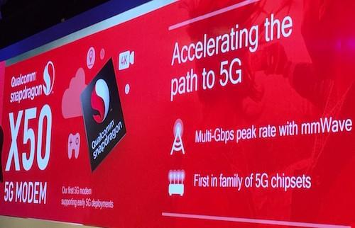 Modem X50 của Qualcomm cho tốc độ tải lên tới 5 gigabit mỗi giây.