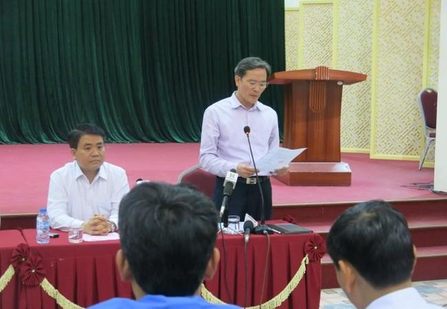 Chủ tịch UBND thành phố Hà Nội Nguyễn Đức Chung tại cuộc họp. Ảnh: Tuổi trẻ