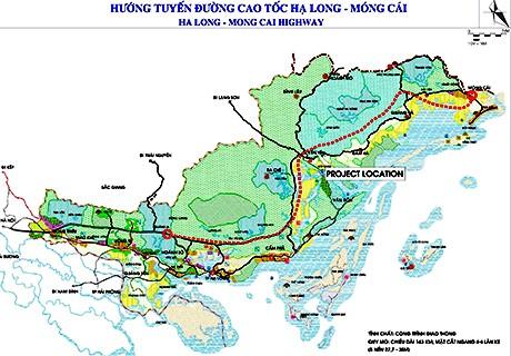 Bản đồ hướng tuyến cao tốc Vân Đồn - Móng Cái