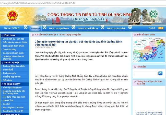 Cổng thông tịn điện tử Quảng Ninh vừa phát đi cảnh báo