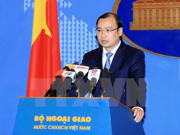 Người phát ngôn Bộ Ngoại giao Lê Hải Bình phát biểu tại buổi họp báo. (Ảnh: Phạm Kiên/TTXVN)