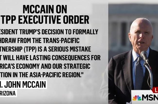 Thượng nghị sỹ John McCain: Rút khỏi TPP, ông Trump đã mắc sai lầm nghiêm trọng