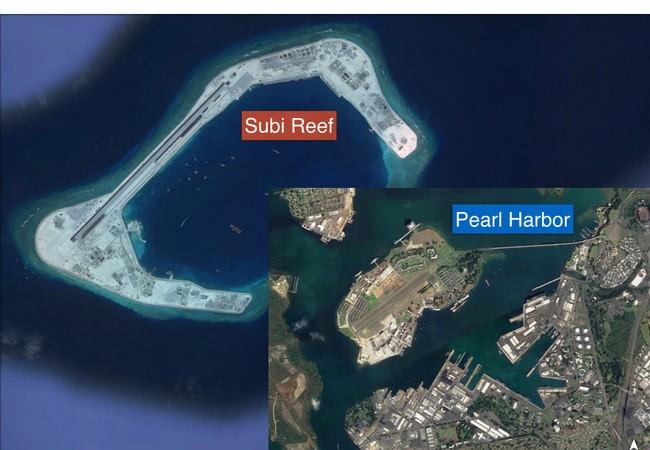 Đá Subi ở quần đảo Trường Sa đã bị Trung Quốc bồi lấp trái phép, xây đảo nhân tạo, đường băng, nhà chứa máy bay và các công trình quân sự kiên cố