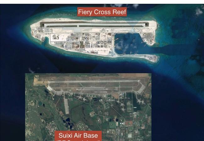 Đá Chữ Thập ở quần đảo Trường Sa đã bị Trung Quốc bồi lấp, xây dựng thành đảo nhân tạo phi pháp với đường băng, nhà chứa máy bay và các công trình quân sự kiên cố