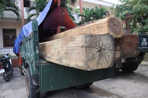Chiếc xe và số gỗ tang vật vụ việc tại trụ sở Công an tỉnh Quảng Trị - Ảnh: Nguyễn Phúc