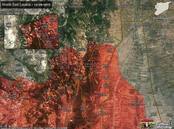 Bản đồ khu vực tỉnh Latakia đến ngày 28.12.2015