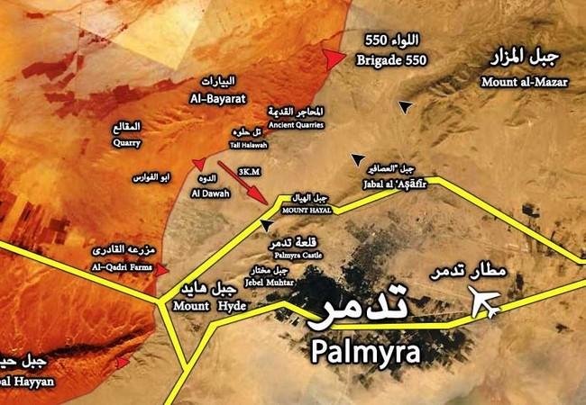 Quân đội Syria đánh thẳng vào cửa tây thành phố Palmyra