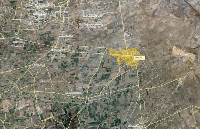 Bản đồ khu vực chiến sự Maydaa, ngoại ô Damascus