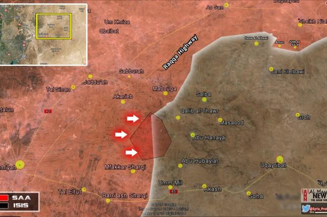 Bản đồ chiến sự trên miền Đông tỉnh Hama