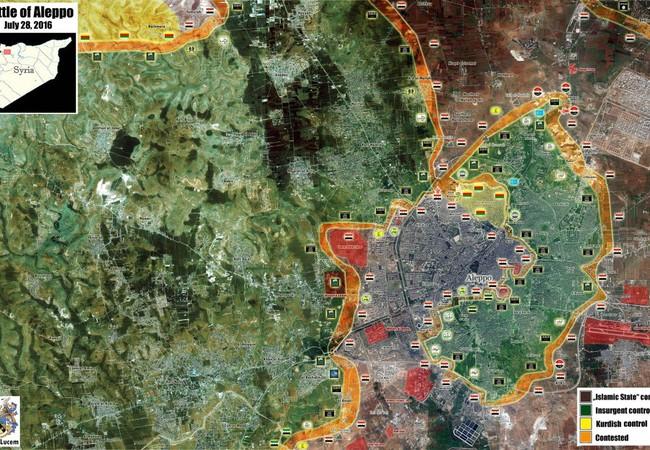 Bản đồ chiến sự thành phố Aleppo ngày 28.07.2016