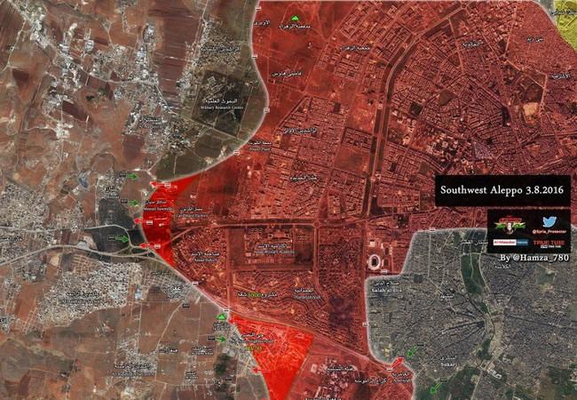 Bản đồ chiến sự Syria sáng ngày 03.08.2016