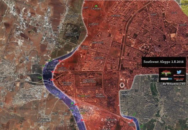 Bản đồ chiến sự quận Nam Aleppo ngày 02.08.2016
