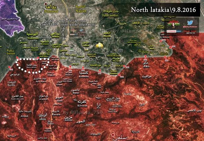 Bản đồ chiến sự vùng Latakia.