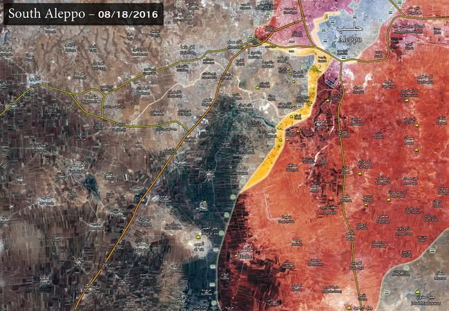 Bản đồ tình hình chiến sự Aleppo ngày 18 - 19.08.2016