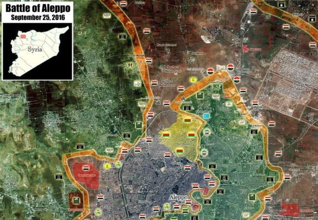 Bản đồ tổng quan chiến sự thành phố Aleppo tính đến ngày 25.09.2016
