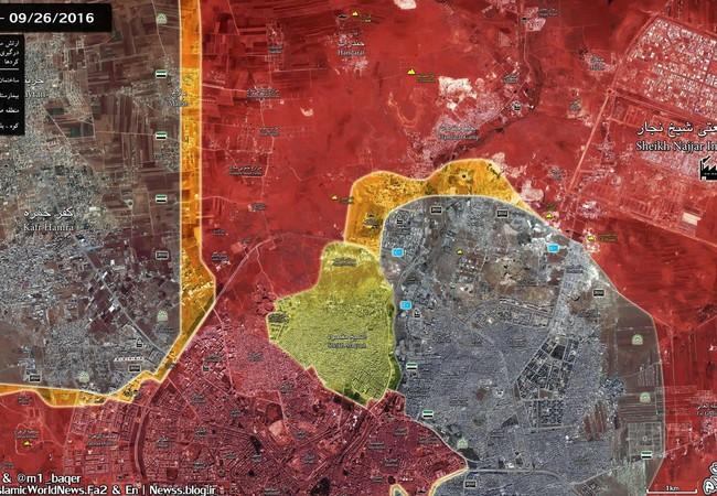 Bản đồ chiến sự thành phố Aleppo tính đến ngày 26.09.2016