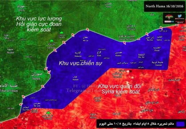 Bản đồ chiến sự vùng nông thôn tỉnh Hama ngày 16.10.2016
