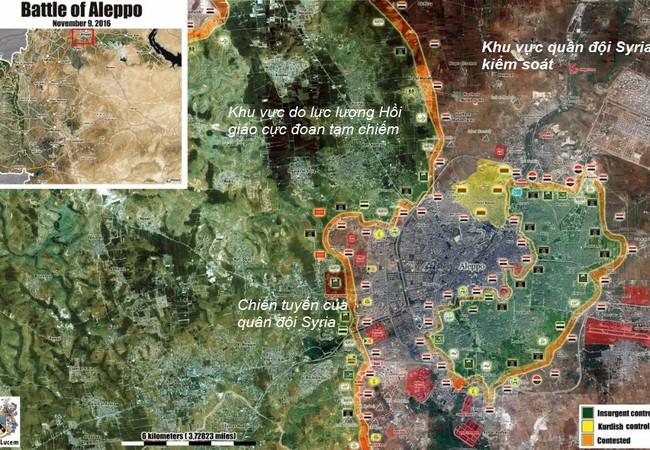 Bản đồ phần bổ lực lượng các bên trong chiến trường Aleppo