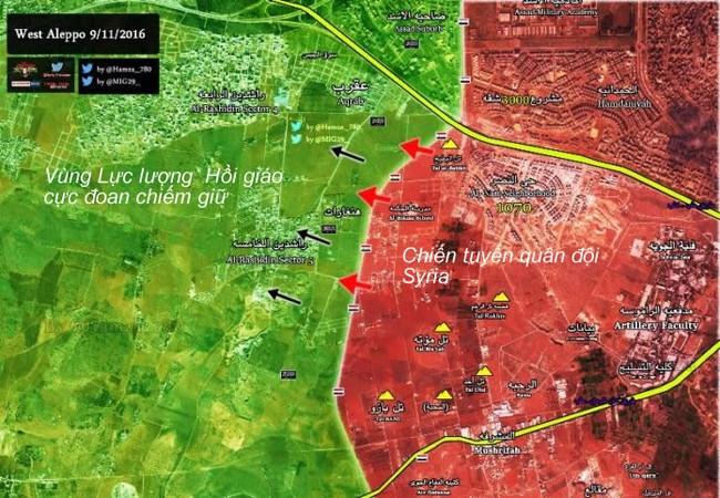 Chiến trường khu vực hành lang Tây Nam thành phố Aleppo