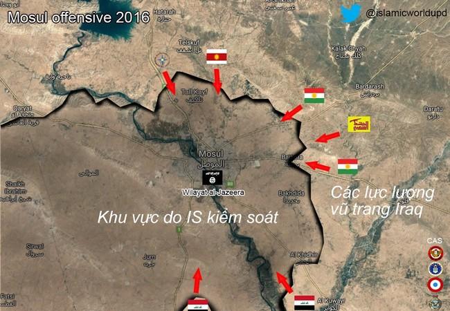 Chiến sự Mosul, các lực lượng vũ trang Iraq tấn công vào thành phố