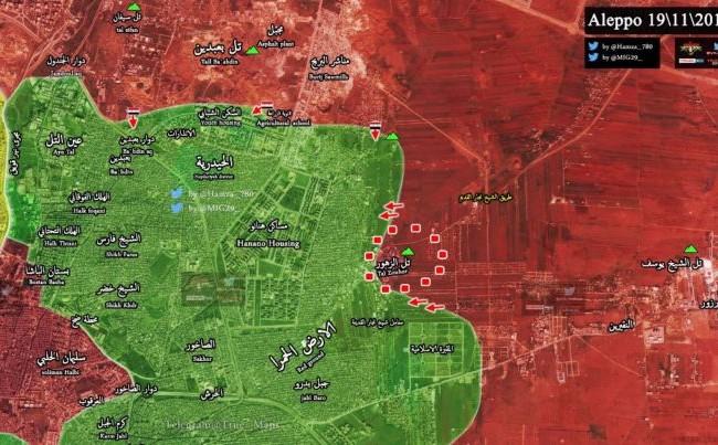 Bản đồ chiến sự khu vực các quận phía đông Aleppo