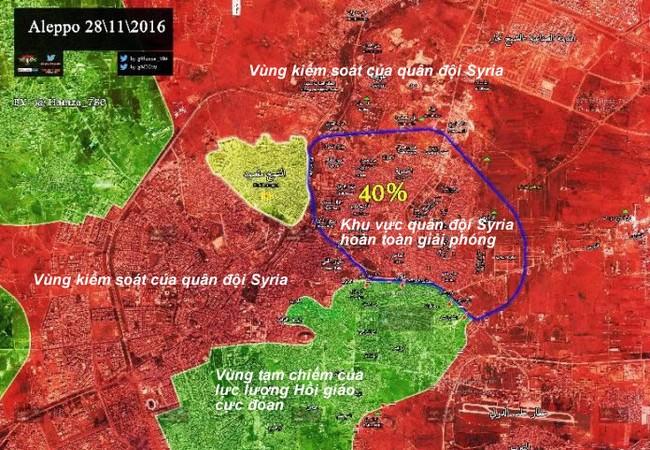 Quân đội Syria giải phóng 40% diện tích khu các quận phía đông Aleppo
