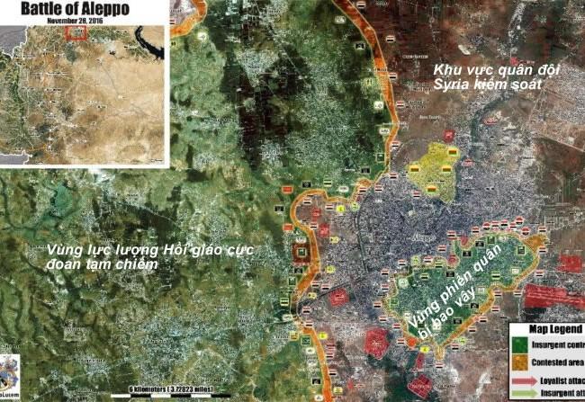 Bản đồ chiến sự khu vực phía đông thành phố Aleppo ngày 28.11.2016