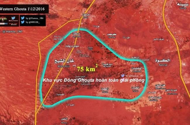 Sơ đồ cuối cùng của vùng chiến sự Tây Ghouta nổi tiếng ngoại ô Damascus