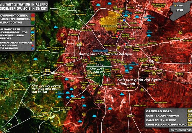 Bản đồ tình hình chiến sự Syria tính đến ngày 09.12.2016