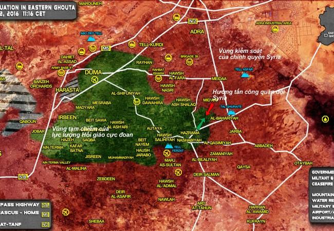 Bản đồ tình hình chiến sự vùng Đông Ghouta, ngoại ô Damascus