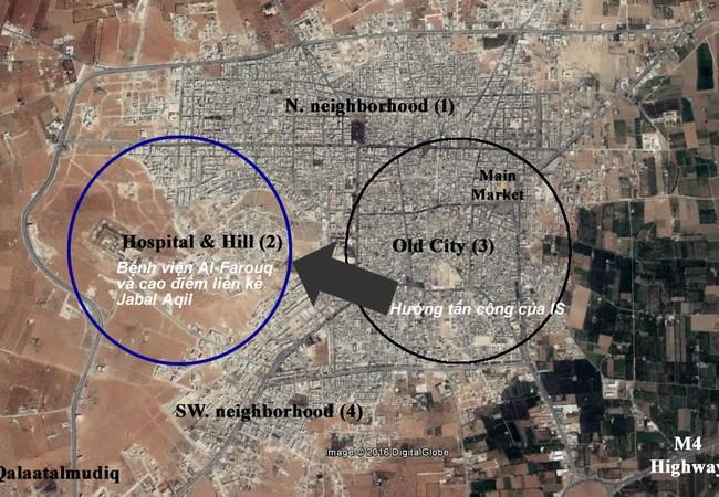 Bản đồ trận chiến al-Bab, hướng Bắc thành phố Aleppo